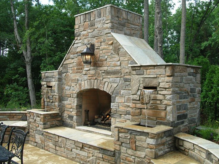 Combination outdoor fireplace and water fountain outdoor Outdoor fireplace design ideas