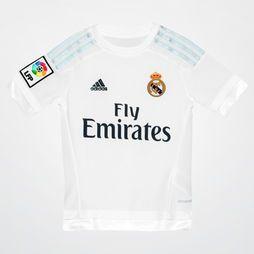 Camisa Adidas Real Madrid Home 15/16 s/nº Infantil - Branco