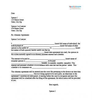 Alimony Agreement Letter