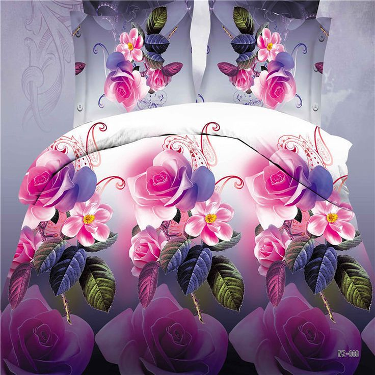 2015 Winter 4Pcs 3D Bedding sets Flower Bedding-set Bed Set King Size Sheets Duvet Cover Quilt Pillow No Comforter