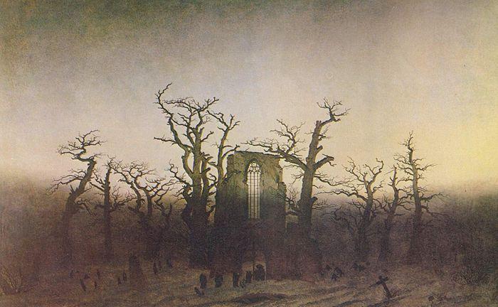 Caspar David Friedrich, ABBAZIA NEL QUERCETO, 1810, olio su tela, 110,4×171 cm, Alte Nationalgalerie, Berlino