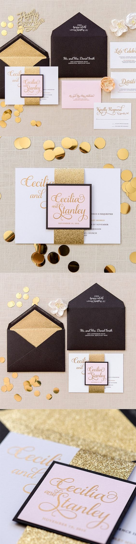 Glitter Bellyband Wedding Invitation Cecilia Wedding