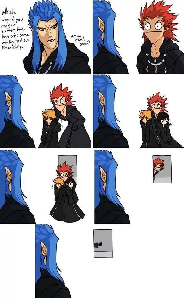 Axel is not having your head games, Saix. Axel's face cracks all the shit XD. Hahahhahahhah I can't take it lol Axel's face omg
