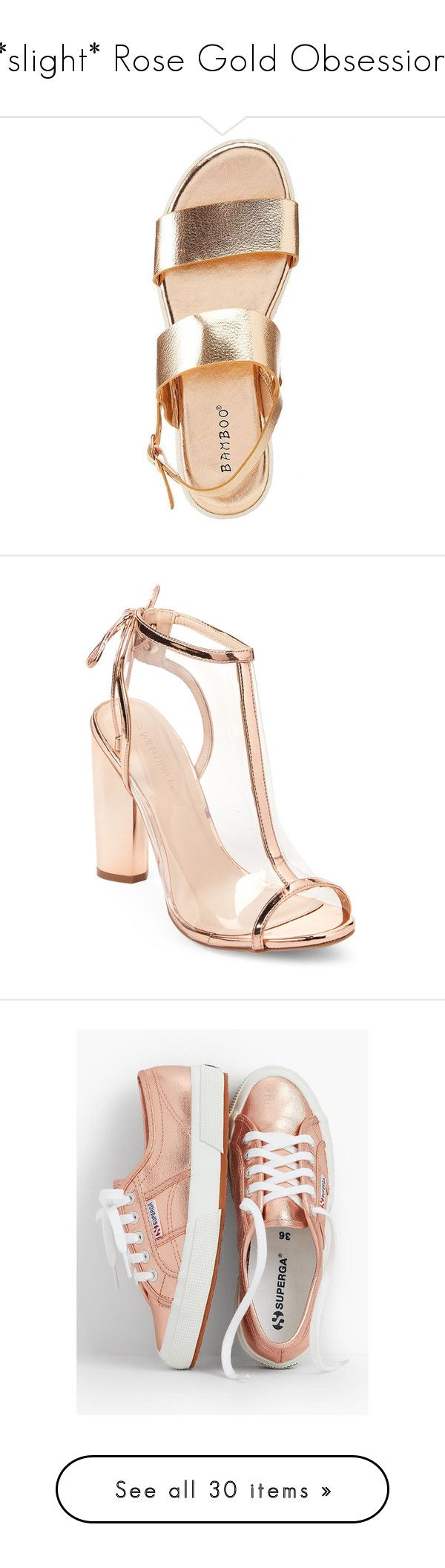 """""""*slight* Rose Gold Obsession"""" by laurengallop ❤ liked on Polyvore featuring shoes, sandals, rose gold, birkenstock, metallic leather shoes, genuine leather shoes, birkenstock sandals, metallic leather sandals, glitter wedge sandals and wedge heel sandals"""
