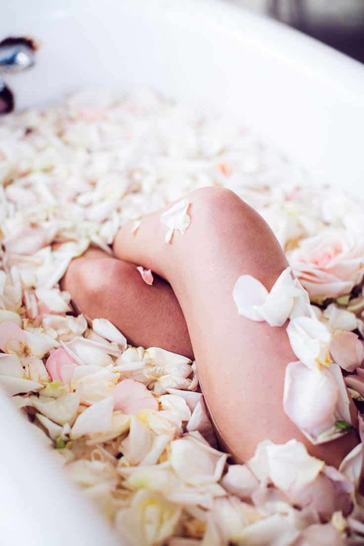 home spa with rose petals