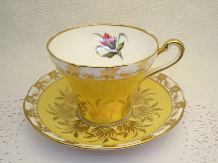 Yellow Royal Stafford teacup and saucer, Flowers, Gilded,  Art Deco, Collectible porcelain cup, Tea coffee, Drinkware service, Gift Ideas by LesCurieux on Etsy https://www.etsy.com/ca/listing/513195365/yellow-royal-stafford-teacup-and-saucer