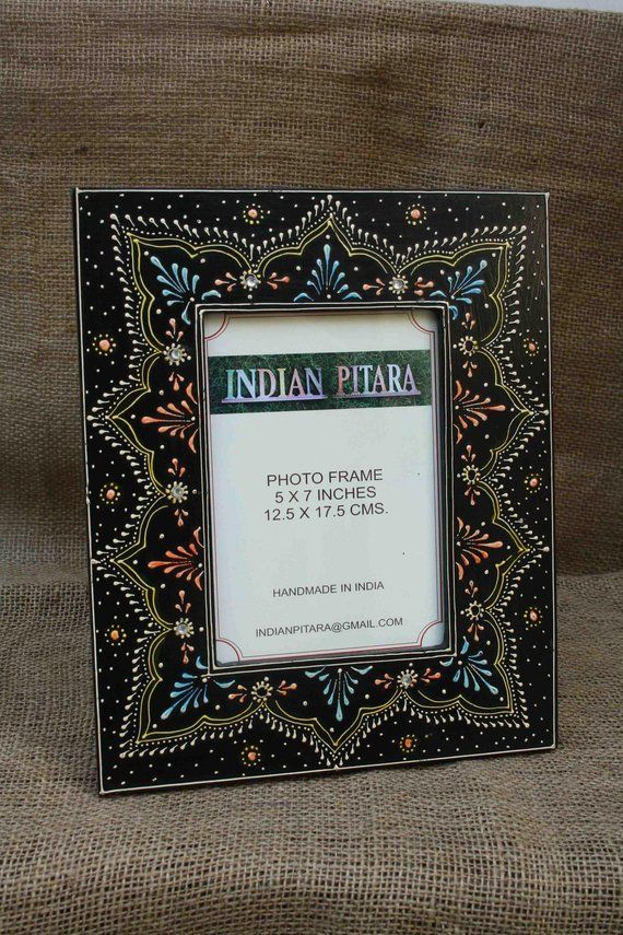 Wood Photo Frame Handmade Frame Hand Painted Frame Indian Decor Indian Art Picture Frame Table Photo Frame Colorful Frame Handmade Frames Picture Frame Table Frame
