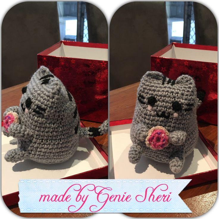 Pusheen Cat. Donut. Crocheted amigurumi. Made by genie sheri