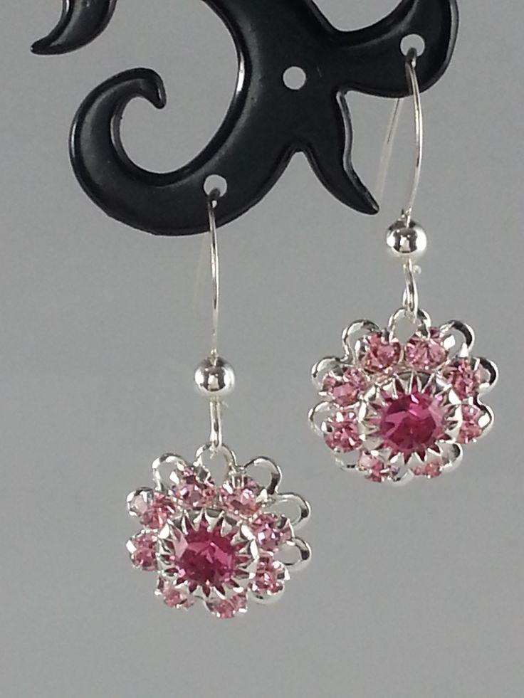 Pink Swarovski crystals on silver earrings