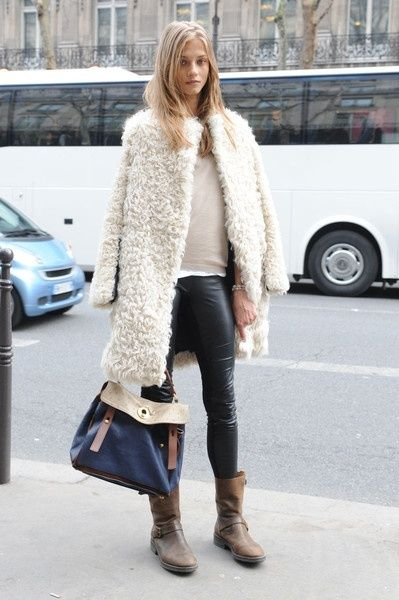 e32344fe4e3b9f Big Fuzzy White Coat Over Beige Sweater and Leather Pants with Brown Boots  and Navy Blue Handbag. #ShopStyle #shopthelook #affiliate