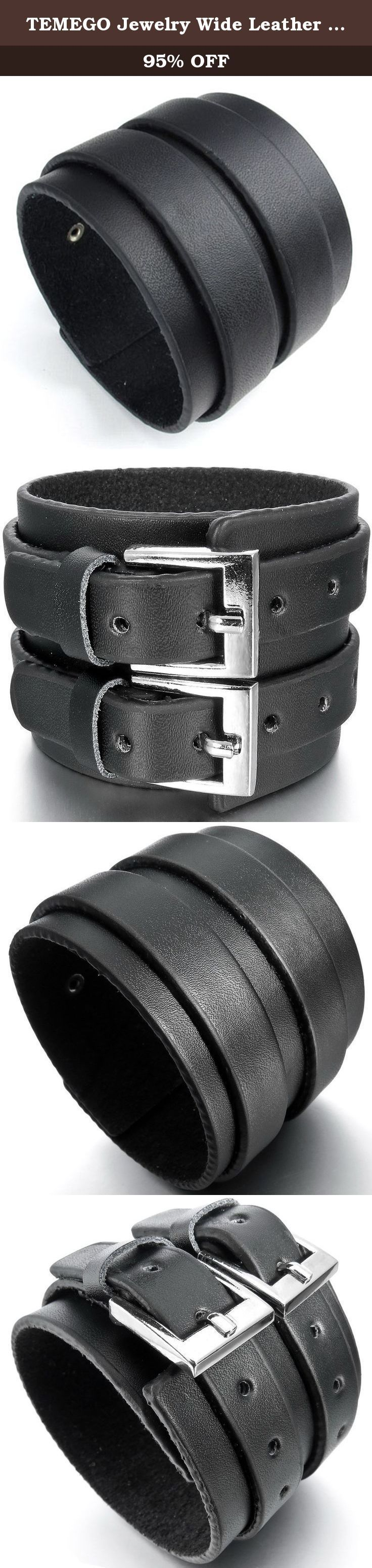 """TEMEGO Jewelry Wide Leather Bracelet, Punk Rock,Adjustable Fits 6.5""""-8.5"""", Black Silver. Stainless Steel Jeweley has gained increasing popularity in men's jewelry. It does not tarnish and oxidized, which can last longer than other types of jewelry. Stainless steel jewelry has an amazing property of anti-allergice since they are often made without nickel."""