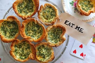 Cheshire (cat) cheese and English garden herb quiches