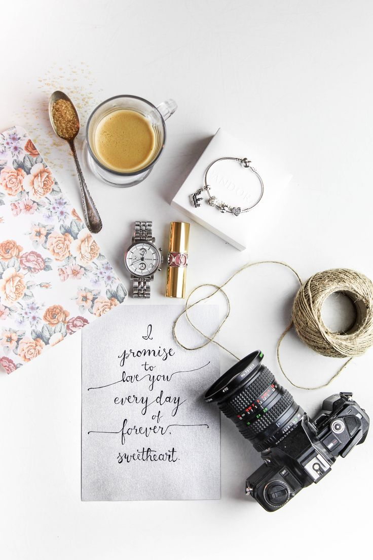 I promise to love you everyday of forever, sweetheart.    Handwritten calligraphy   Modern calligraphy   Flatlay photography   Coffee   Pandora bracelet   Fossil Watch   YSL lipstick