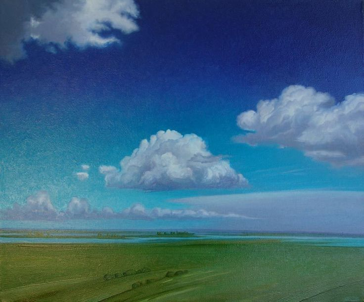 """""""Warm Respite"""" by Jerry Moon Fine Art-Oil-Landscape-Painting-Kansas City, Missouri-Midwest-Clouds-Sunny-Trees-Blue-Green-Serene"""