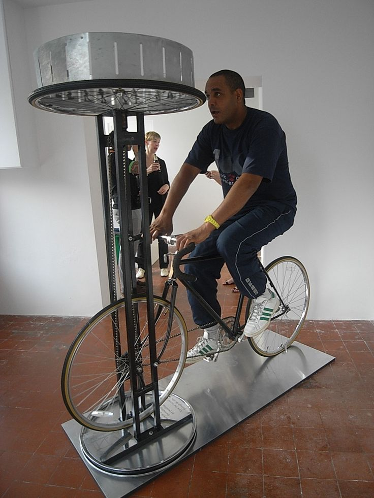 The sculpture Faster, Faster, features a zoetrope that is activated by a participant working the pedals of a static bicycle. The cycling action allows a film to be viewed within the optical device whilst pedalling.  The show continues until 28th July 2012.