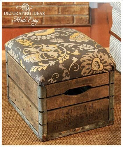 Wood crate with cushion top. Cute and functional. Could use in family room to store kids toys?