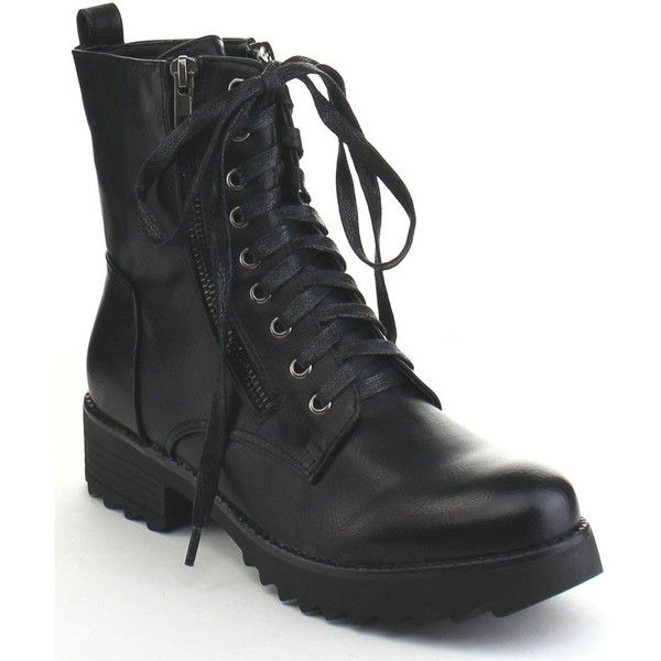 MI.IM Snazzy-01 Women's Lace Up Side Zipper Lug Sole Short Stacked... ($45) ❤ liked on Polyvore featuring shoes, boots, ankle booties, black, lace up booties, black combat boots, black platform boots, short boots and combat booties