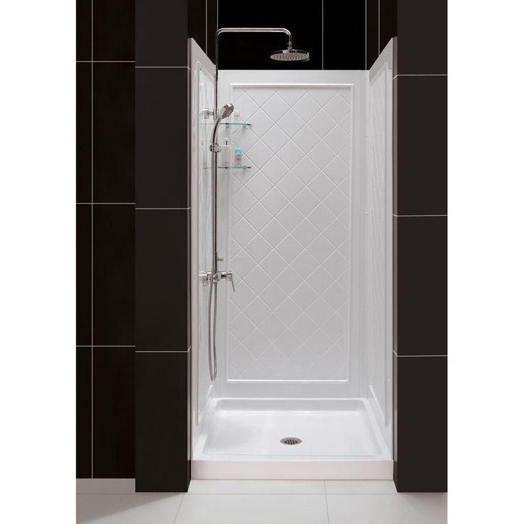 Dreamline Slimline Single Threshold Shower Base And Qwall 5 Backwalls Kit 32