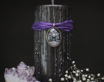 Stampa di morte, cimitero a tema regalo, candele horror, bara, hocus pocus magia stregoneria, candela di halloween con fascino, candela nera del metallo,
