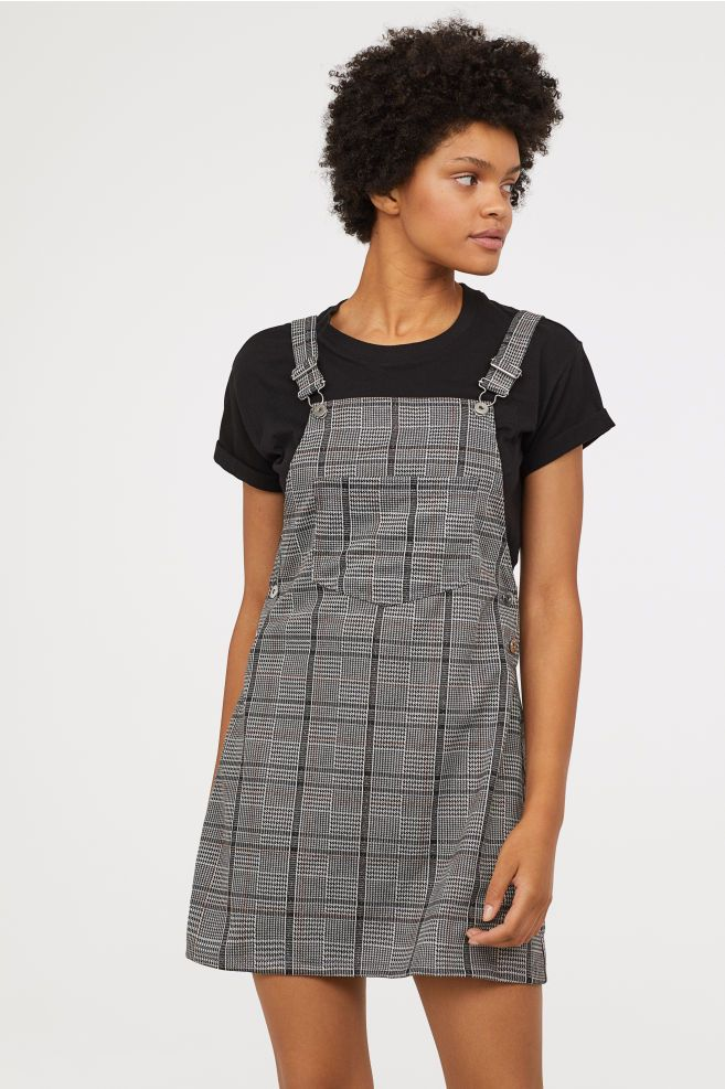 1f9c537605 Bib Overall Dress - Dark gray checked - Ladies