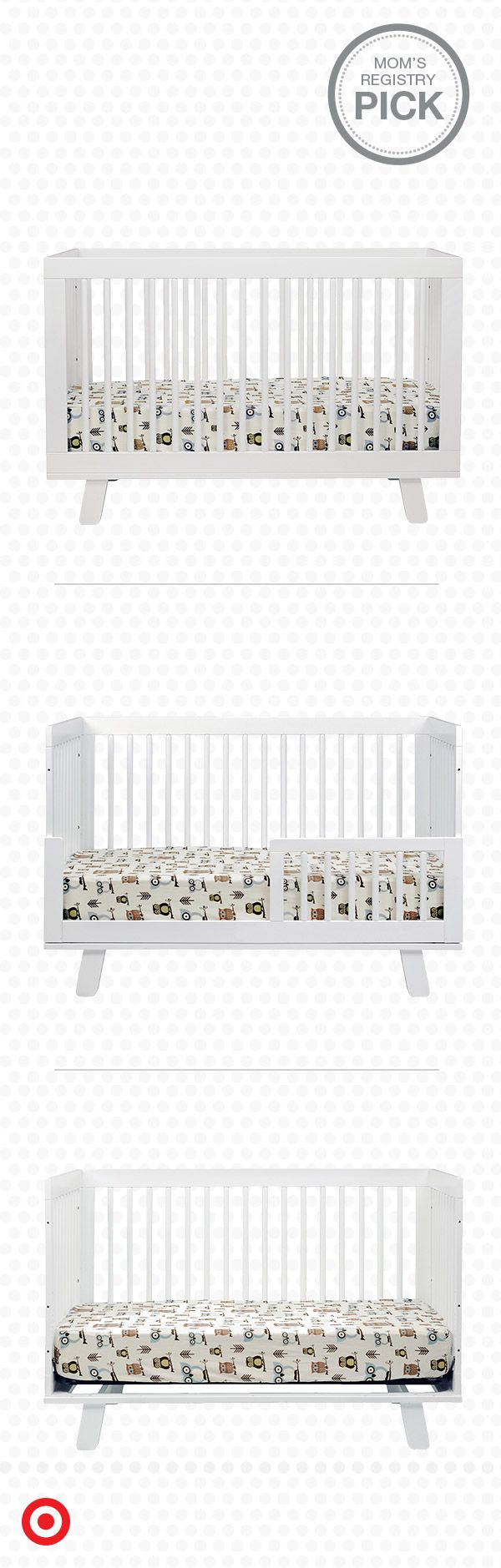Build your nursery around the Babyletto Hudson 3-in-1 Convertible Crib with toddler rail, a Mom's Registry Pick. As sturdy as it is stylish, this modern crib easily converts to a toddler bed or a daybed as your baby grows. Sweet dreams, little one.