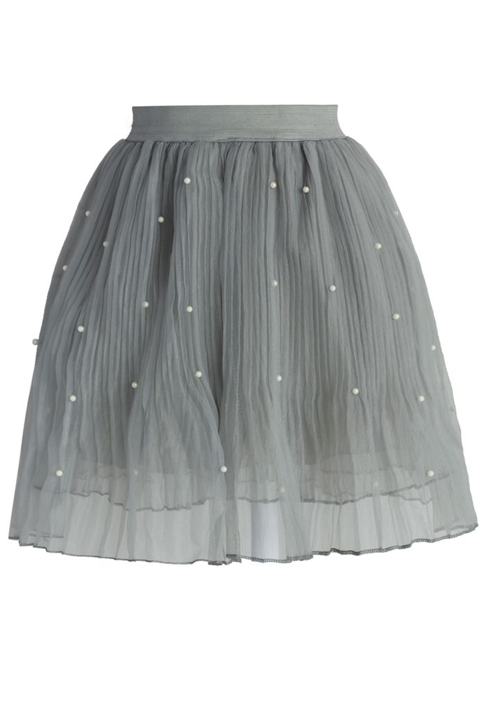 Pearly Stars Tulle Skirt in Smoke - Skirt - Bottoms - Retro, Indie and Unique Fashion