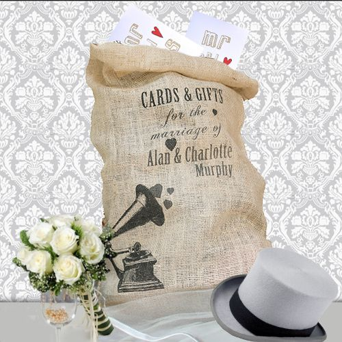 Personalised Hessian Vintage Style Wedding card receiving sacks!