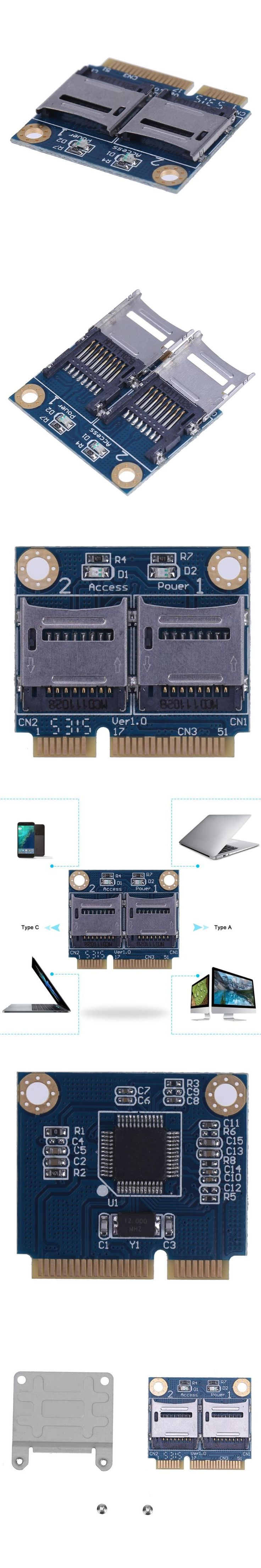 Mini PCI-E Memory Card Adapter PCI-E to Dual TF SDHC SDXC Reader Converter for Micro SD Card High Quality