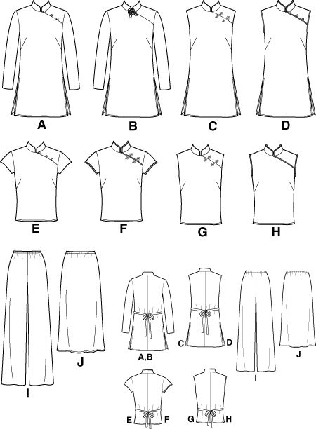 chinese dress sewing patterns | New Look 6203 - Misses Evening Tops, Tunics, Skirt and Pants