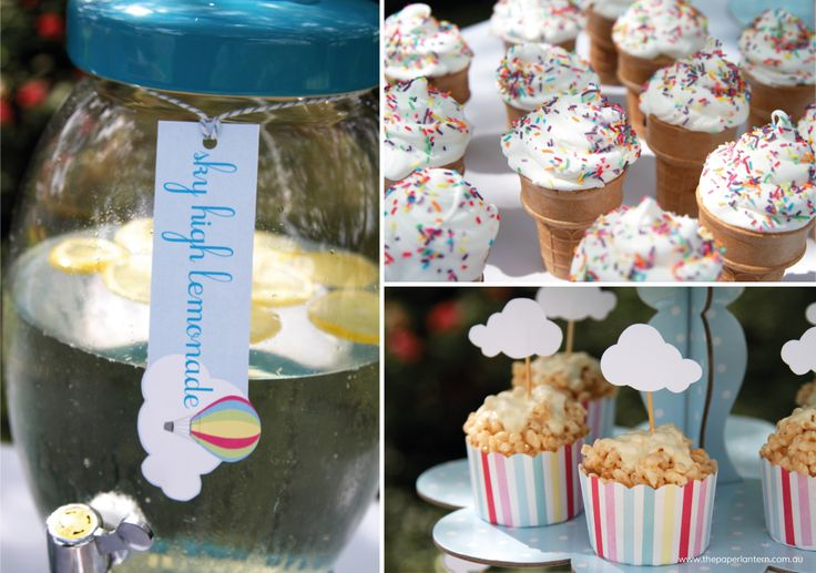 Parties are all about the food…these little treats are ideal for a Hot Air Balloon Party, and guests can finish off with a cup of Sky High Lemonade!