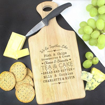 Check this out!! The Kitchen Gift Company have some great deals on Kitchen Gadgets & Gifts Personalised Paddle Chopping Board - Couples Design #kitchengiftco