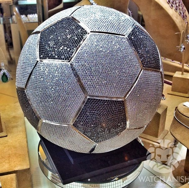 Real size white gold and diamond football