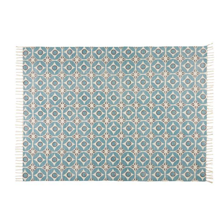 Tapis en coton motifs carreaux de ciment bleus 160x230cm BLOCALIA