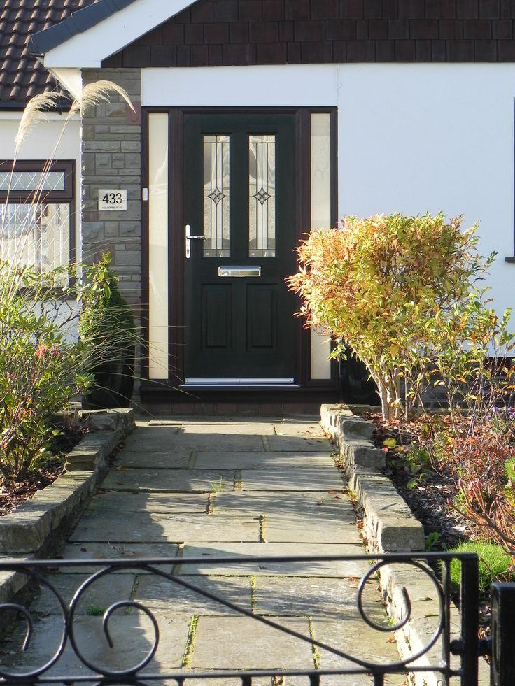 The classic Jacobean Rockdoor featuring the Summit Sandblasted Glass in Black. #Rockdoor #Jacobean Visit www.Rockdoor.com for more information.