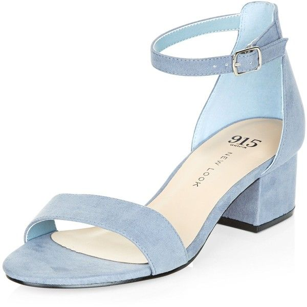 New Look Teens Pale Blue Suedette Block Heel Sandals (33 NZD) ❤ liked on Polyvore featuring shoes, sandals, pale blue, mid-heel sandals, ankle strap mid heel sandals, open toe sandals, ankle strap shoes and ankle tie shoes