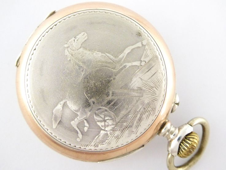 Beautiful Art Nouveau Antique 1900s German .800 Silver and Gold Pocket Watch with Engraved Horses - The Collectors Bag