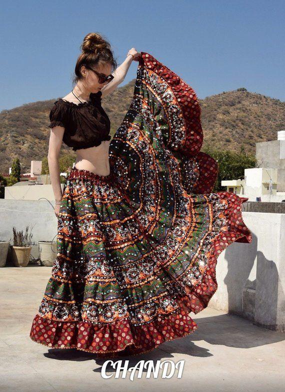 India Skirt boho freepeople Style Gypsy TRIBAL FUSION ...
