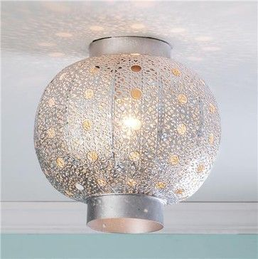 Pierced Moroccan Metal Globe Ceiling Light - Shades of Light eclectic ceiling lighting