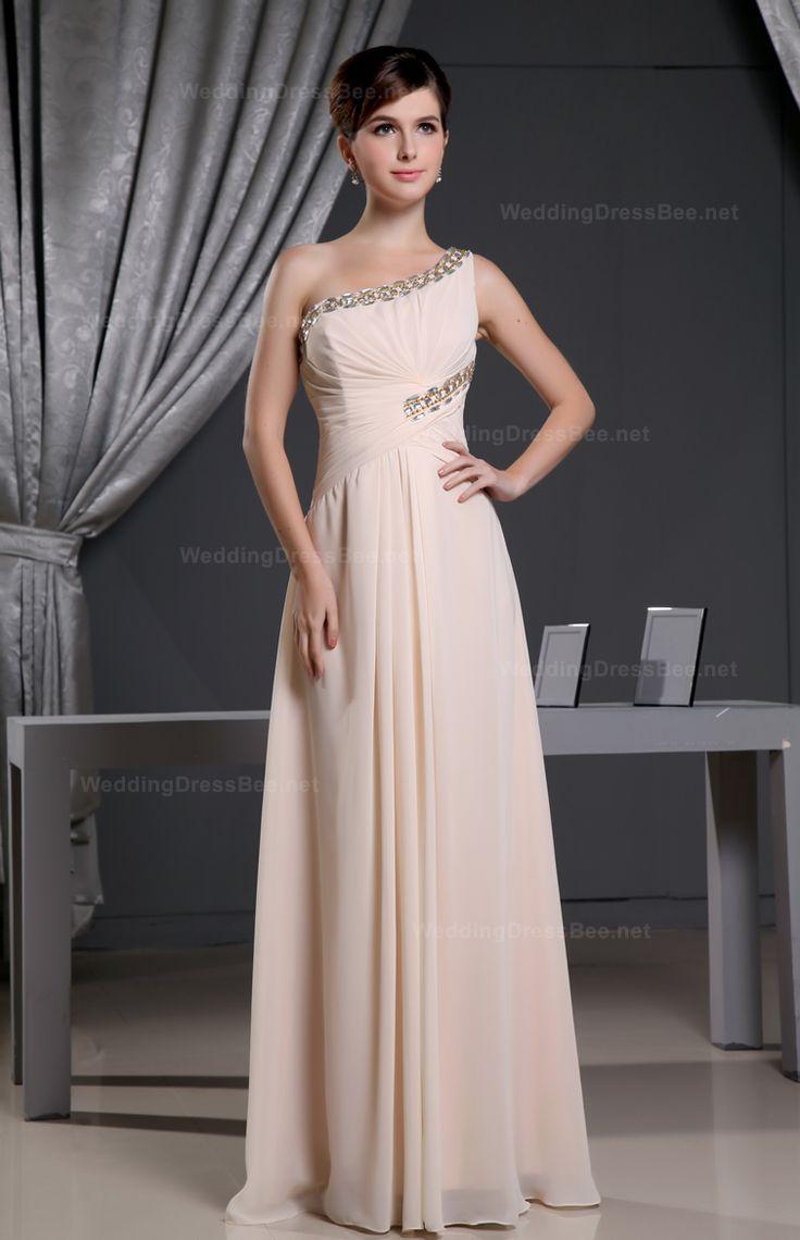Shiny Single Shoulder Chiffon Dress