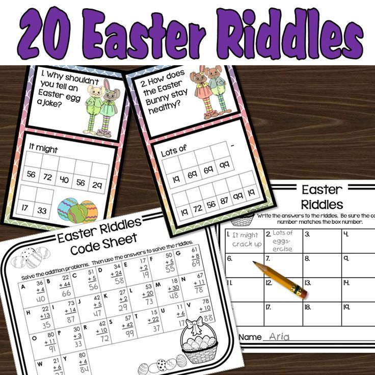 Easter riddles that employ 2 digit addition to decode