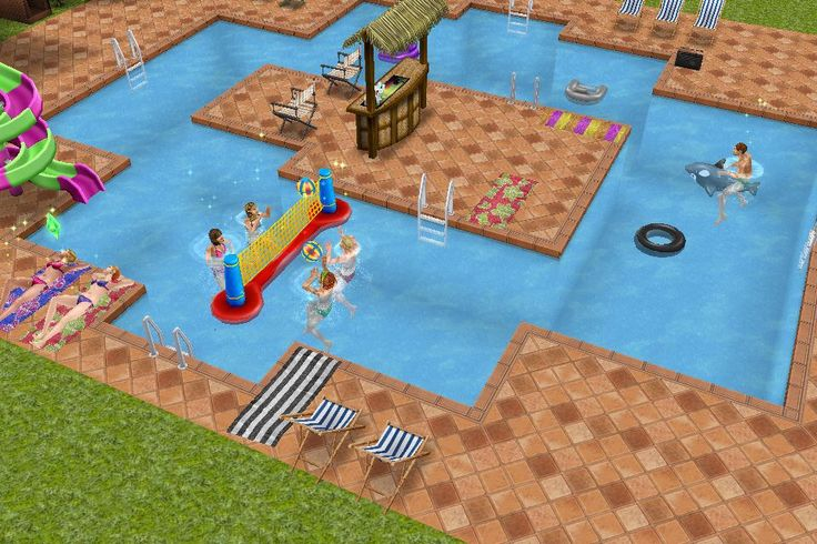 The pool of the teen idol mansion house sims freeplay for Casa de diseno sims freeplay