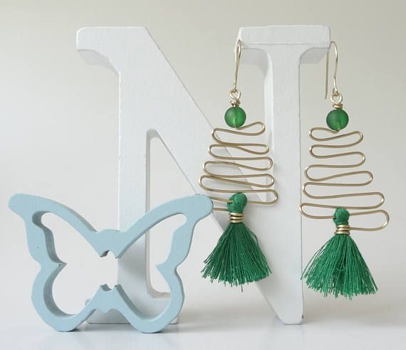 Tassel Earrings Brass Wire Earrings Green Earrings Tassel