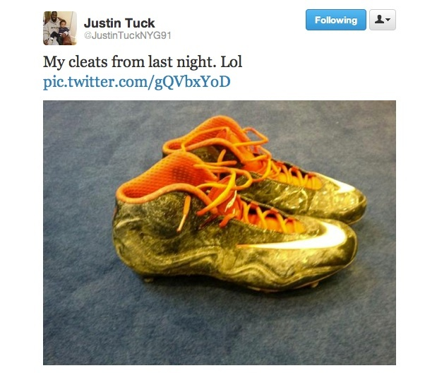 Justin Tuck's cleats