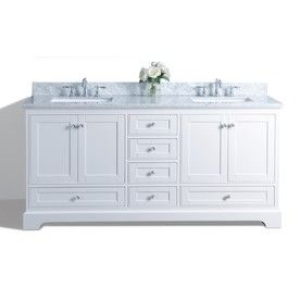 Shop Ancerre Designs Audrey White 72-in Undermount Double Sink Birch Bathroom Vanity with Natural Marble Top at Lowes.com