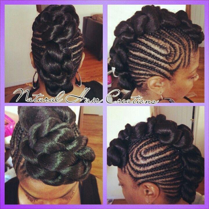 Jumbo twists and cornrows natural hair updo braids | My ...