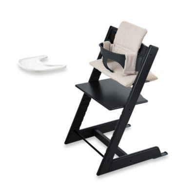 Stokke  Tripp Trapp Bundle  Black High Chair Black Baby Set Grey Loom Cushion  Tray >>> Find out more about the great product at the image link.