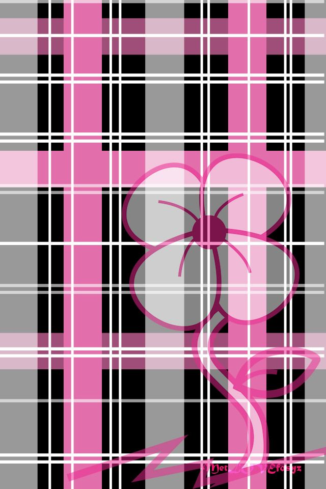 PINK AND BLACK PLAID, IPHONE WALLPAPER BACKGROUND IPHONE