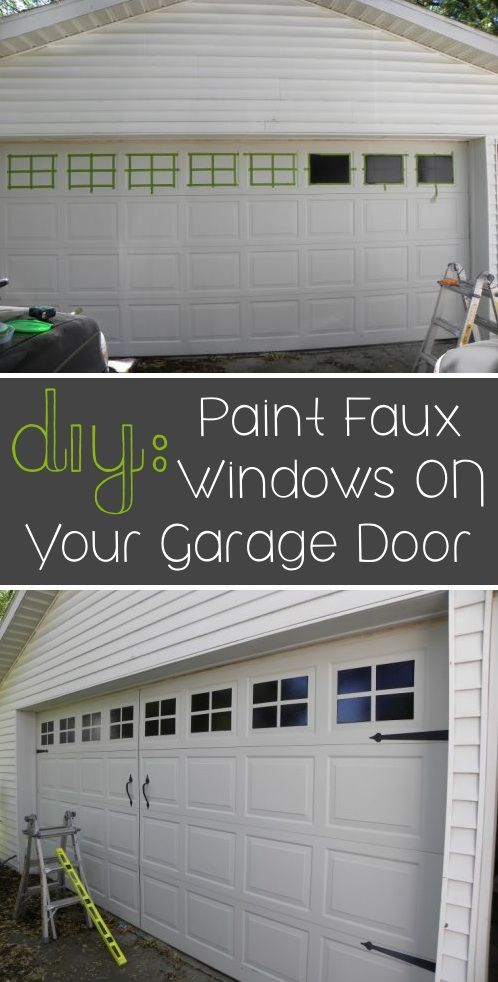 DIY Faux Carriage Doors, Metal Garage Door Makeover with Simple Paint, Faux Windows, pulls and hinges... ( hardware kit, frog tape and Rustoleum black gloss paint)