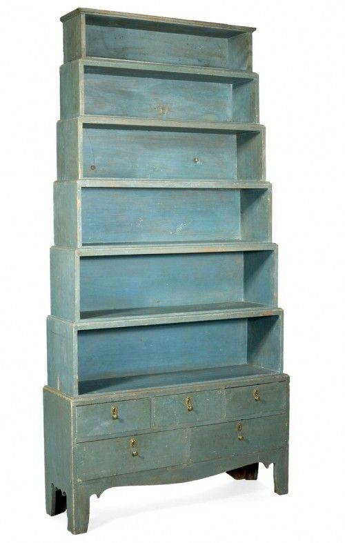 #LGLimitlessDesign & #Contest 19th Century Painted Furniture  There's that great blue again!  Love the pyramid - shelf for cook books and other displayable kitchen items