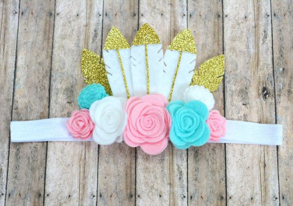 Feathers and Flowers Crown Headband Flower by TwoLittleGirlsHair